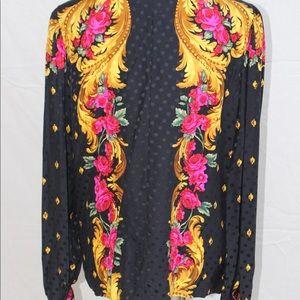 Beautiful 1980s Black Silk Floral Blouse